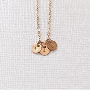 Jewelry - Personalized Initials Necklace, 3 Tiny Discs.